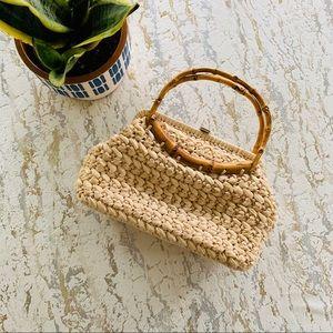 Vintage Woven Bamboo Handle Purse